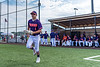 Cortland Crush Nicholas Pastore (1) being introduced before playing the Sherrill Silversmiths in a New York Collegiate Baseball League game at Gutchess Lumber Sports Complex in Cortland, New York on Thursday, July 4, 2019.