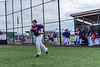 Cortland Crush Sean O'Malley (8) being introduced before playing the Sherrill Silversmiths in a New York Collegiate Baseball League game at Gutchess Lumber Sports Complex in Cortland, New York on Thursday, July 4, 2019.
