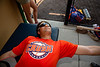"""Cortland Crush Brandon """"Buzz"""" Shirley (27) on the athletic trainer table in the dugout at Gutchess Lumber Sports Complex in Cortland, New York on Thursday, July 4, 2019."""