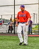 Cortland Crush Sean O'Malley (8) being introduced before playing the Sherrill Silversmiths in a New York Collegiate Baseball League game at Gutchess Lumber Sports Complex in Cortland, New York on Thursday, July 12, 2019.