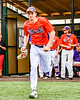 Cortland Crush Jack Lynch (2) being introduced before playing the Sherrill Silversmiths in a New York Collegiate Baseball League game at Gutchess Lumber Sports Complex in Cortland, New York on Thursday, July 12, 2019.