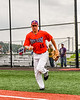 Cortland Crush Garrett Callghan (15) being introduced before playing the Sherrill Silversmiths in a New York Collegiate Baseball League game at Gutchess Lumber Sports Complex in Cortland, New York on Thursday, July 12, 2019.
