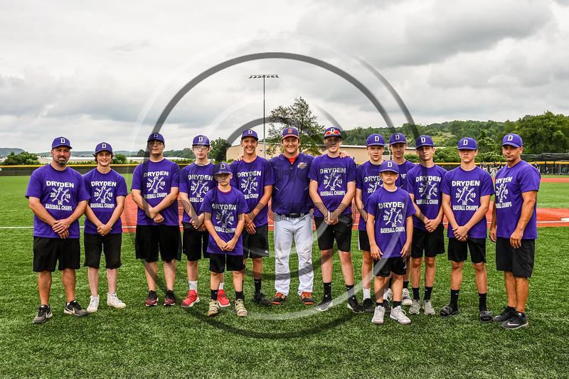 Cortland Crush Pitching Coach Ryan Stevens (13) with the Dryden JV IAC Baseball Champions at Gutchess Lumber Sports Complex in Cortland, New York on Thursday, July 12, 2019.