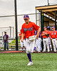 Cortland Crush Nicholas Pastore (1) being introduced before playing the Sherrill Silversmiths in a New York Collegiate Baseball League game at Gutchess Lumber Sports Complex in Cortland, New York on Thursday, July 12, 2019.