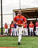 Cortland Crush Brad Nowak (35) being introduced before playing the Sherrill Silversmiths in a New York Collegiate Baseball League game at Gutchess Lumber Sports Complex in Cortland, New York on Thursday, July 12, 2019.