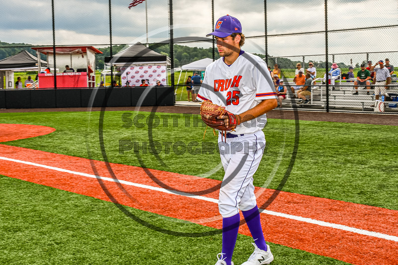 Cortland Crush Starting Pitcher Tommy Scherrer (25) being introduced before playing the Sherrill Silversmiths in a New York Collegiate Baseball League game at Gutchess Lumber Sports Complex in Cortland, New York on Thursday, July 21, 2019.