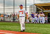 Cortland Crush Sean O'Malley (8) being introduced before playing the Sherrill Silversmiths in a New York Collegiate Baseball League game at Gutchess Lumber Sports Complex in Cortland, New York on Thursday, July 21, 2019.