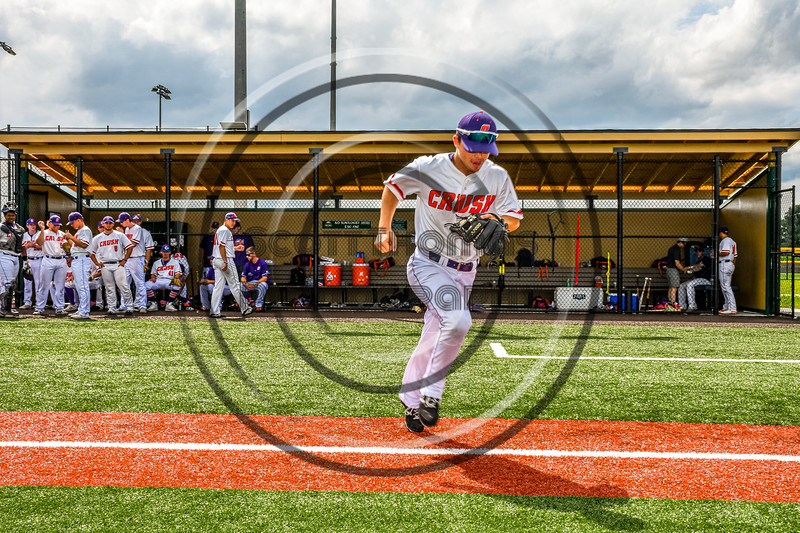 Cortland Crush Anthony Cieszko (3) being introduced before playing the Sherrill Silversmiths in a New York Collegiate Baseball League game at Gutchess Lumber Sports Complex in Cortland, New York on Thursday, July 21, 2019.