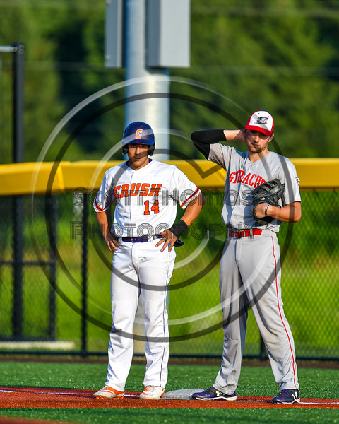 Cortland Crush Dylan Nolan (14) at First Base against the Syracuse Salt Cats in New York Collegiate Baseball League playoff action at Gutchess Lumber Sports Complex in Cortland, New York on Thursday, July 24, 2019. Cortland won 1-0 in extra innings.