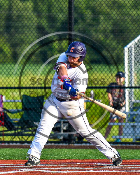 Cortland Crush Sean O'Malley (8) swinging at a pitch against the Syracuse Salt Cats in New York Collegiate Baseball League playoff action at Gutchess Lumber Sports Complex in Cortland, New York on Thursday, July 24, 2019. Cortland won 1-0 in extra innings.
