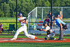 Cortland Crush Dylan Nolan (14) after hitting the ball against the Syracuse Salt Cats in New York Collegiate Baseball League playoff action at Gutchess Lumber Sports Complex in Cortland, New York on Thursday, July 24, 2019. Cortland won 1-0 in extra innings.