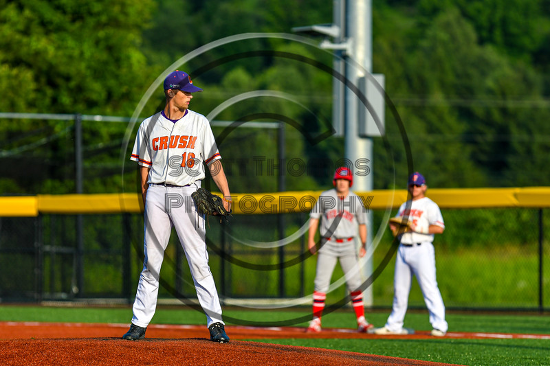 Cortland Crush Zach Kemp (16) on the mound against the Syracuse Salt Cats in New York Collegiate Baseball League playoff action at Gutchess Lumber Sports Complex in Cortland, New York on Thursday, July 24, 2019. Cortland won 1-0 in extra innings.