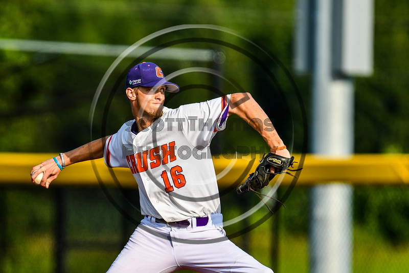Cortland Crush Zach Kemp (16) pitching against the Syracuse Salt Cats in New York Collegiate Baseball League playoff action at Gutchess Lumber Sports Complex in Cortland, New York on Thursday, July 24, 2019. Cortland won 1-0 in extra innings.