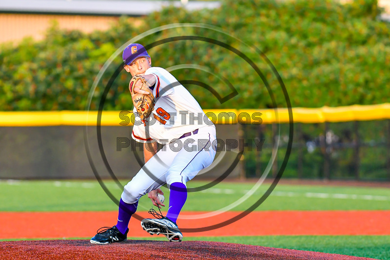 Cortland Crush Jonathan Triesler (19) pitching against the Syracuse Salt Cats in New York Collegiate Baseball League playoff action at Gutchess Lumber Sports Complex in Cortland, New York on Thursday, July 24, 2019. Cortland won 1-0 in extra innings.