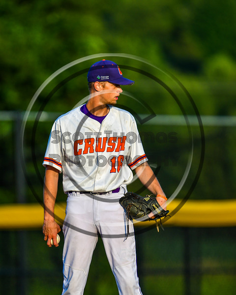 Cortland Crush Pitcher Zach Kemp (16) on the mound against the Syracuse Salt Cats in New York Collegiate Baseball League playoff action at Gutchess Lumber Sports Complex in Cortland, New York on Thursday, July 24, 2019. Cortland won 1-0 in extra innings.