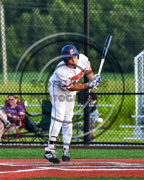 Cortland Crush Garrett Callghan (15) reacts to being hit by a pitch against the Syracuse Salt Cats in New York Collegiate Baseball League playoff action at Gutchess Lumber Sports Complex in Cortland, New York on Thursday, July 24, 2019. Cortland won 1-0 in extra innings.