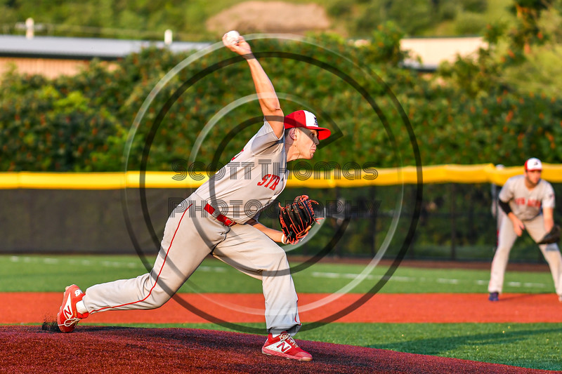 Syracuse Salt Cats Chase Nowak (25) pitching against the Cortland Crush in New York Collegiate Baseball League playoff action at Gutchess Lumber Sports Complex in Cortland, New York on Thursday, July 24, 2019. Cortland won 1-0 in extra innings.