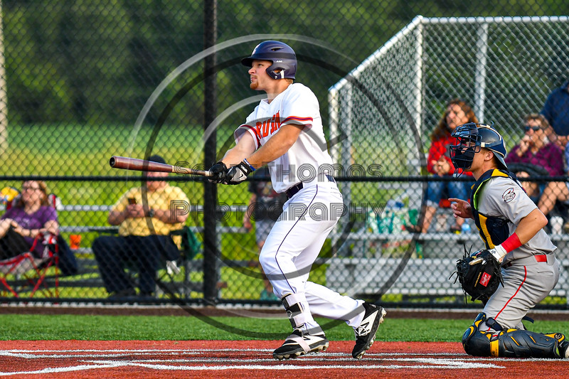 Cortland Crush Stephen Bennett (30) after hitting the ball against the Syracuse Salt Cats in New York Collegiate Baseball League playoff action at Gutchess Lumber Sports Complex in Cortland, New York on Thursday, July 24, 2019. Cortland won 1-0 in extra innings.