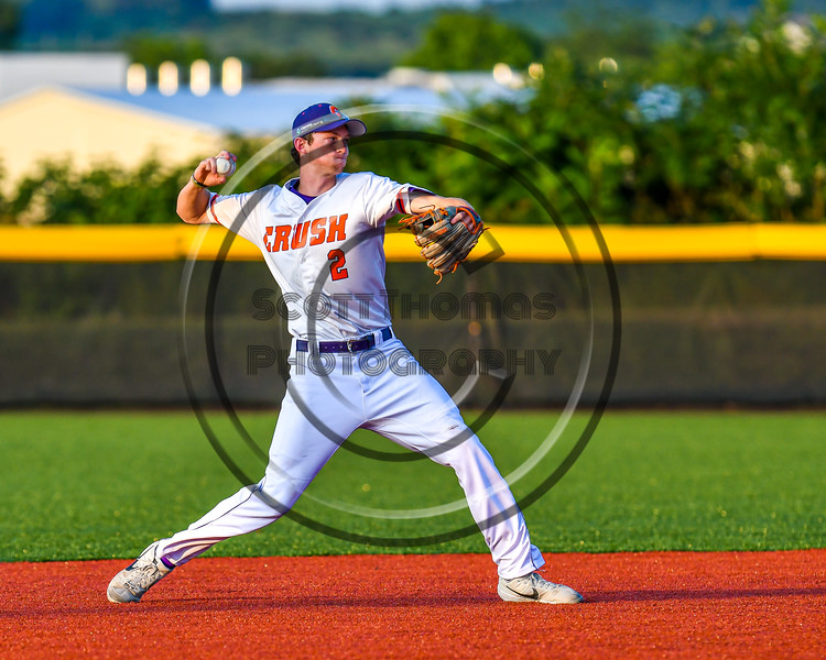 Cortland Crush Jack Lynch (2) throwing the ball for an out against the Syracuse Salt Cats in New York Collegiate Baseball League playoff action at Gutchess Lumber Sports Complex in Cortland, New York on Thursday, July 24, 2019. Cortland won 1-0 in extra innings.
