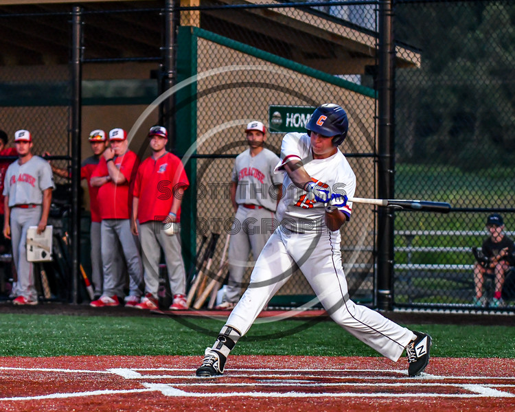 Cortland Crush Garrett Callghan (15) swinging at a pitch against the Syracuse Salt Cats in New York Collegiate Baseball League playoff action at Gutchess Lumber Sports Complex in Cortland, New York on Thursday, July 24, 2019. Cortland won 1-0 in extra innings.