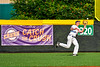 Cortland Crush Garrett Callghan (15) catching the ball for an out against the Syracuse Salt Cats in New York Collegiate Baseball League playoff action at Gutchess Lumber Sports Complex in Cortland, New York on Thursday, July 24, 2019. Cortland won 1-0 in extra innings.
