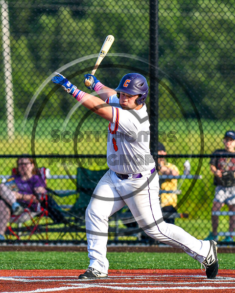 Cortland Crush Sean O'Malley (8) after hitting the ball against the Syracuse Salt Cats in New York Collegiate Baseball League playoff action at Gutchess Lumber Sports Complex in Cortland, New York on Thursday, July 24, 2019. Cortland won 1-0 in extra innings.
