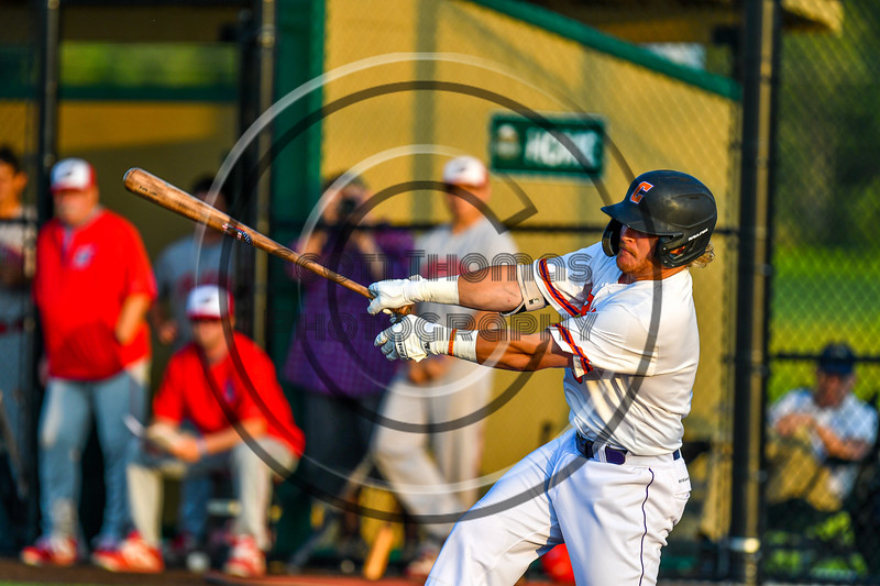 Cortland Crush Hayden Houts (5) after hitting the ball against the Syracuse Salt Cats in New York Collegiate Baseball League playoff action at Gutchess Lumber Sports Complex in Cortland, New York on Thursday, July 24, 2019. Cortland won 1-0 in extra innings.