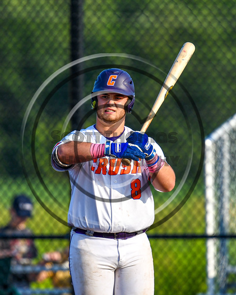 Cortland Crush Sean O'Malley (8) at bat against the Syracuse Salt Cats in New York Collegiate Baseball League playoff action at Gutchess Lumber Sports Complex in Cortland, New York on Thursday, July 24, 2019. Cortland won 1-0 in extra innings.