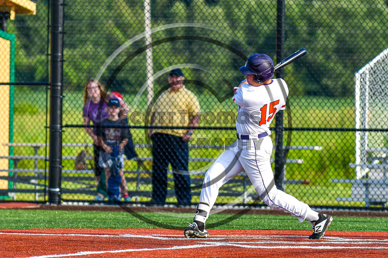 Cortland Crush Garrett Callghan (15) hits the ball against the Syracuse Salt Cats in New York Collegiate Baseball League playoff action at Gutchess Lumber Sports Complex in Cortland, New York on Thursday, July 24, 2019. Cortland won 1-0 in extra innings.