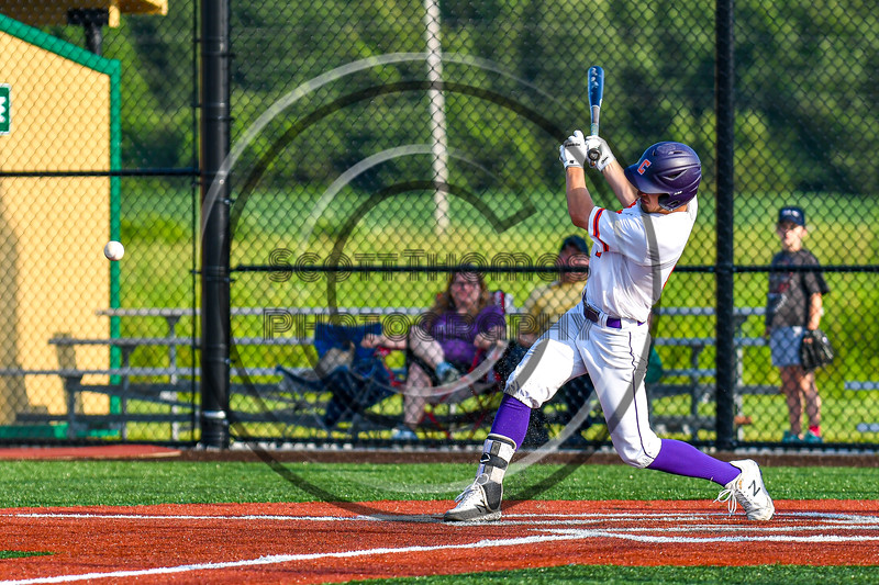 Cortland Crush Nicholas Pastore (1) hits the ball against the Syracuse Salt Cats in New York Collegiate Baseball League playoff action at Gutchess Lumber Sports Complex in Cortland, New York on Thursday, July 24, 2019. Cortland won 1-0 in extra innings.