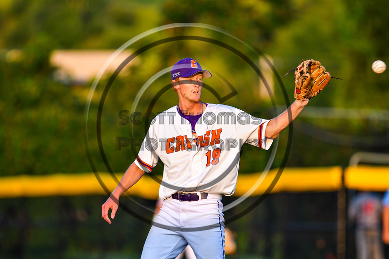 Cortland Crush Pitcher Jonathan Triesler (19) on the mound against the Syracuse Salt Cats in New York Collegiate Baseball League playoff action at Gutchess Lumber Sports Complex in Cortland, New York on Thursday, July 24, 2019. Cortland won 1-0 in extra innings.