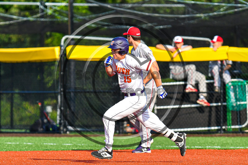 Cortland Crush Garrett Callghan (15) running the bases against the Syracuse Salt Cats in New York Collegiate Baseball League playoff action at Gutchess Lumber Sports Complex in Cortland, New York on Thursday, July 24, 2019. Cortland won 1-0 in extra innings.