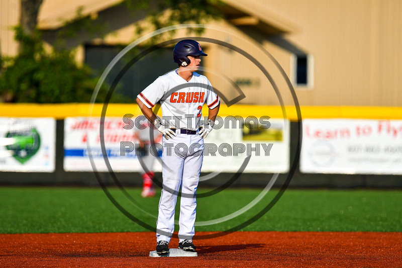 Cortland Crush Anthony Cieszko (3) at Second Base against the Syracuse Salt Cats in New York Collegiate Baseball League playoff action at Gutchess Lumber Sports Complex in Cortland, New York on Thursday, July 24, 2019. Cortland won 1-0 in extra innings.