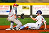 Cortland Crush Anthony Cieszko (3) successfully steals Second Base against the Syracuse Salt Cats in New York Collegiate Baseball League playoff action at Gutchess Lumber Sports Complex in Cortland, New York on Thursday, July 24, 2019. Cortland won 1-0 in extra innings.