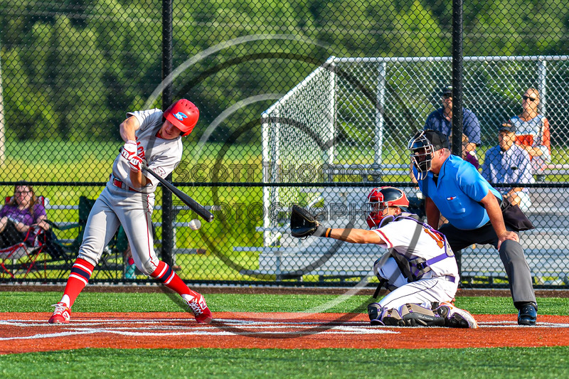 Cortland Crush Dylan Nolan (14) catching against the Syracuse Salt Cats in New York Collegiate Baseball League playoff action at Gutchess Lumber Sports Complex in Cortland, New York on Thursday, July 24, 2019. Cortland won 1-0 in extra innings.