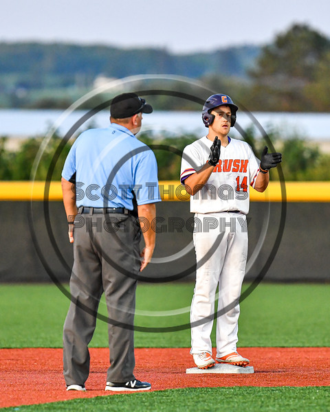 Cortland Crush Dylan Nolan (14) at Second Base after hitting a Double against the Syracuse Salt Cats in New York Collegiate Baseball League playoff action at Gutchess Lumber Sports Complex in Cortland, New York on Thursday, July 24, 2019. Cortland won 1-0 in extra innings.