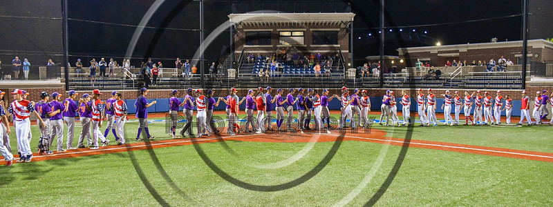 Cortland Crush and Syracuse Salt Cats players shake hands after a New York Collegiate Baseball League playoff game at OCC Turf Field in Syracuse, New York on Thursday, July 25, 2019. Cortland won 3-1.