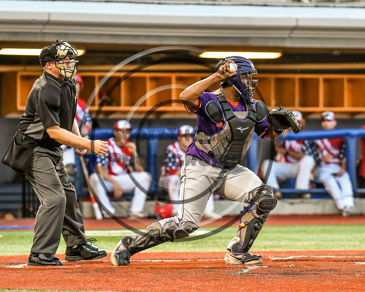 Cortland Crush Catcher Kam Holland (43) throwing the ball against the Syracuse Salt Cats in New York Collegiate Baseball League playoff action at OCC Turf Field in Syracuse, New York on Thursday, July 25, 2019. Cortland won 3-1.