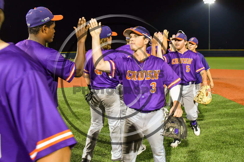 Cortland Crush Anthony Cieszko (3) celebrating a New York Collegiate Baseball League playoff game against the Syracuse Salt Cats at OCC Turf Field in Syracuse, New York on Thursday, July 25, 2019. Cortland won 3-1.
