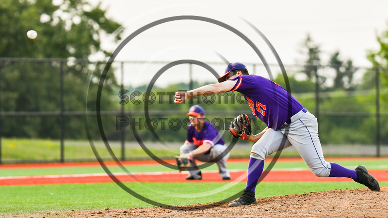 """Cortland Crush Brandon """"Buzz"""" Shirley (27) pitching against the Syracuse Salt Cats in New York Collegiate Baseball League playoff action at OCC Turf Field in Syracuse, New York on Thursday, July 25, 2019. Cortland won 3-1."""
