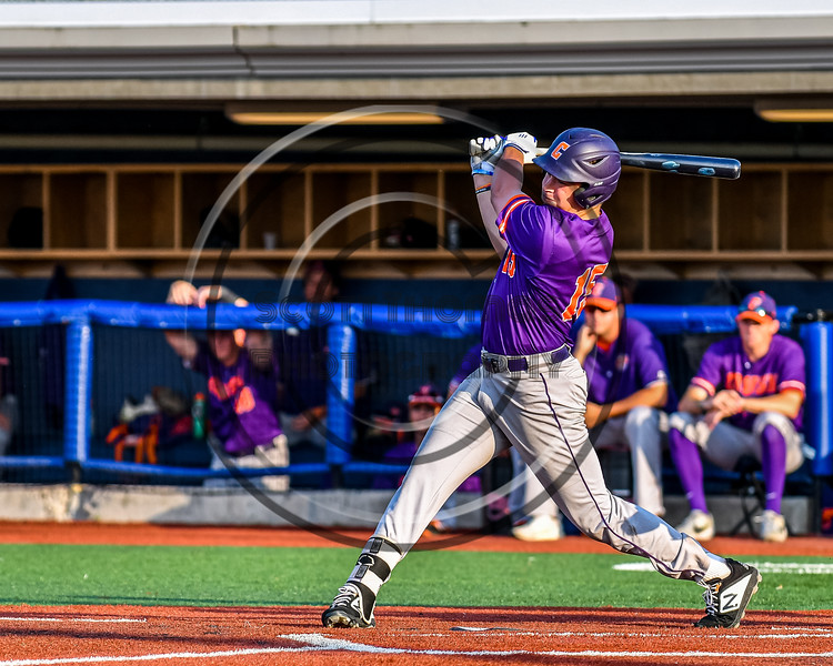 Cortland Crush Garrett Callghan (15) after hitting the ball against the Syracuse Salt Cats in New York Collegiate Baseball League playoff action at OCC Turf Field in Syracuse, New York on Thursday, July 25, 2019. Cortland won 3-1.