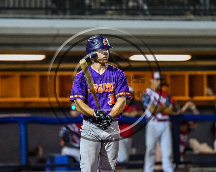 Cortland Crush Stephen Bennett (30) at bat against the Syracuse Salt Cats in New York Collegiate Baseball League playoff action at OCC Turf Field in Syracuse, New York on Thursday, July 25, 2019. Cortland won 3-1.