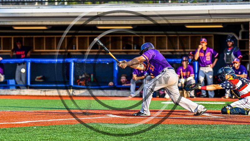 Cortland Crush Alex Babcock (33) hits the ball against the Syracuse Salt Cats in New York Collegiate Baseball League playoff action at OCC Turf Field in Syracuse, New York on Thursday, July 25, 2019. Cortland won 3-1.