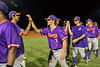 Cortland Crush Cregg Scherrer (7) celebrating a New York Collegiate Baseball League playoff game against the Syracuse Salt Cats at OCC Turf Field in Syracuse, New York on Thursday, July 25, 2019. Cortland won 3-1.