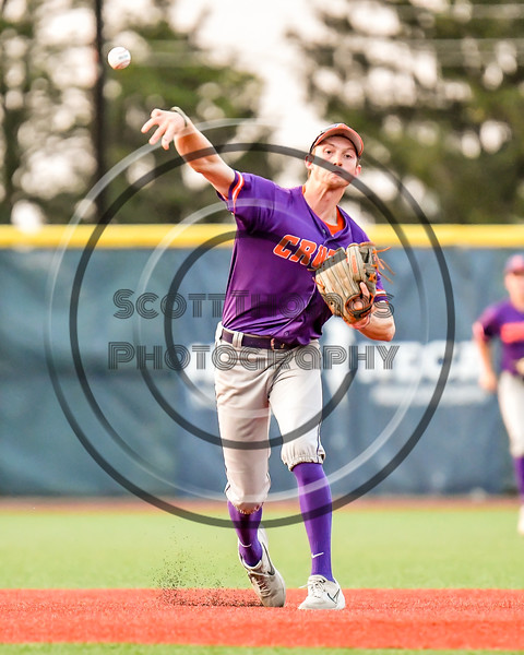 Cortland Crush Jack Lynch (2) throwing out the Syracuse Salt Cats runner at First Base in New York Collegiate Baseball League playoff action at OCC Turf Field in Syracuse, New York on Thursday, July 25, 2019. Cortland won 3-1.