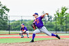 "Cortland Crush Brandon ""Buzz"" Shirley (27) pitching against the Syracuse Salt Cats in New York Collegiate Baseball League playoff action at OCC Turf Field in Syracuse, New York on Thursday, July 25, 2019. Cortland won 3-1."