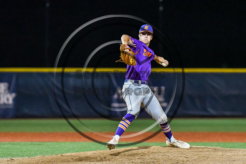 Cortland Crush Cregg Scherrer (7) pitching against the Syracuse Salt Cats in New York Collegiate Baseball League playoff action at OCC Turf Field in Syracuse, New York on Thursday, July 25, 2019. Cortland won 3-1.