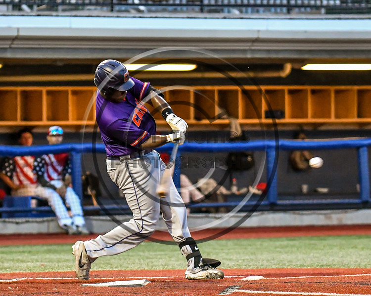 Cortland Crush Kam Holland (43) swinging at a pitch against the Syracuse Salt Cats in New York Collegiate Baseball League playoff action at OCC Turf Field in Syracuse, New York on Thursday, July 25, 2019. Cortland won 3-1.