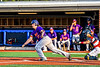 Cortland Crush Alex Babcock (33) after hitting the ball against the Syracuse Salt Cats in New York Collegiate Baseball League playoff action at OCC Turf Field in Syracuse, New York on Thursday, July 25, 2019. Cortland won 3-1.
