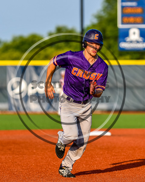 Cortland Crush Stephen Bennett (30) running the bases against the Syracuse Salt Cats in New York Collegiate Baseball League playoff action at OCC Turf Field in Syracuse, New York on Thursday, July 25, 2019. Cortland won 3-1.